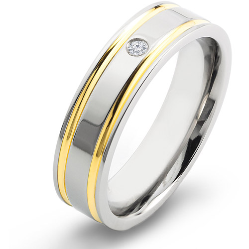 Crucible Gold-Plated Titanium and 0.03 Carat T.W. Diamond Comfort Fit Band (H-I, SI2)