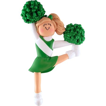 Cheerleader Green Uniform Blonde Personalized  Christmas Ornament DO-IT-YOURSELF ()