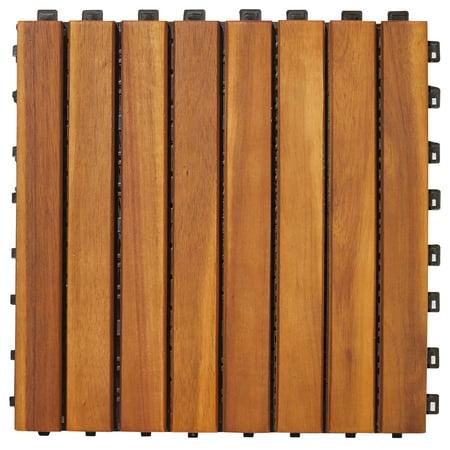 8 Slat Acacia Interlocking Deck Tile (Teak Finish) Teak Deck Tiles