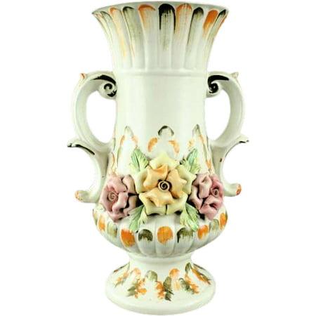 1950 Vintage Capodimonte Vase Bassano Ceramic Flowers Handles