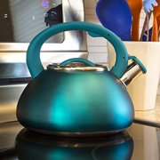 Primula Avalon Whistling Kettle - Whistling Spout, Locking Spout Cover, and Stay-Cool Handle - Stainless Steel - 2.5 Quarts - Matte Teal