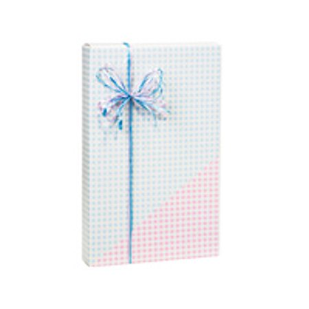 Double Sided Gingham Blue/Pink Birthday / Special Occasion Gift Wrap Wrapping Paper-16ft