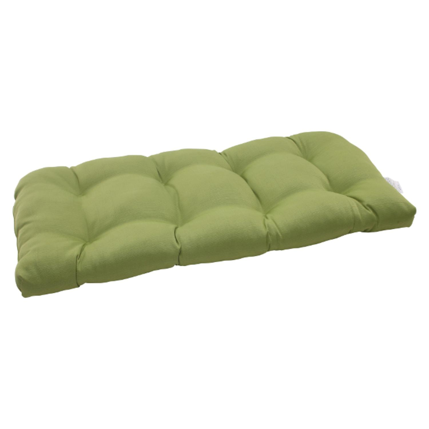"""44"""" Solid Olive Green Outdoor Patio Wicker Tufted Loveseat Cushion"""