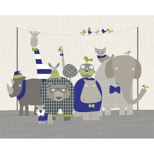Oopsy Daisy - Happy Animal Herd - Green & Navy Canvas Wall Art 30x24, Vicky Barone
