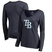 online store 35dd0 82cc7 Product Image Tampa Bay Rays Fanatics Branded Women s Splatter Logo Long  Sleeve V-Neck T-Shirt