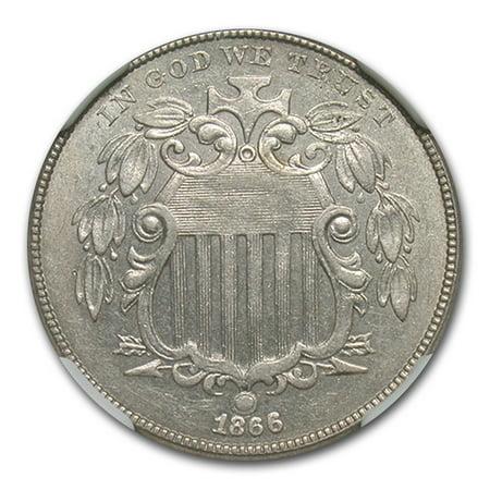 1866 Shield Nickel MS-61 NGC (Rays) (1866 Shield)