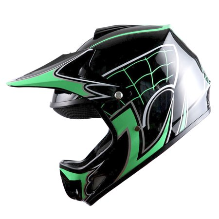 WOW Youth Kids Motocross BMX MX ATV Dirt Bike Helmet Spider Green