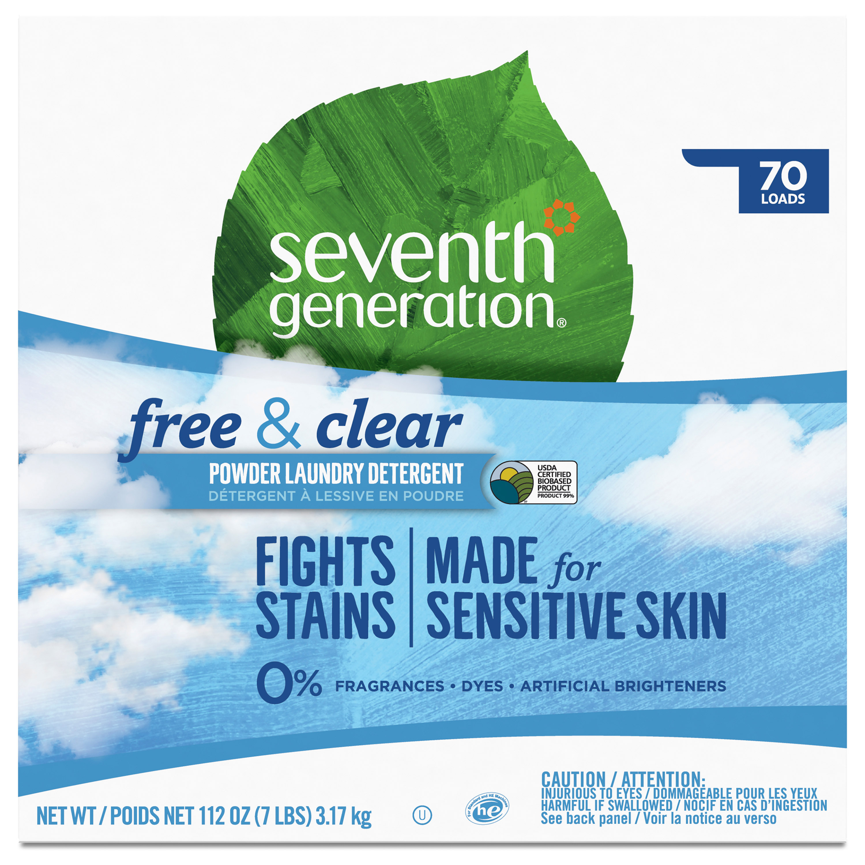 Seventh Generation Free and Clear Fragrance Free Laundry Detergent Powder, 112 oz