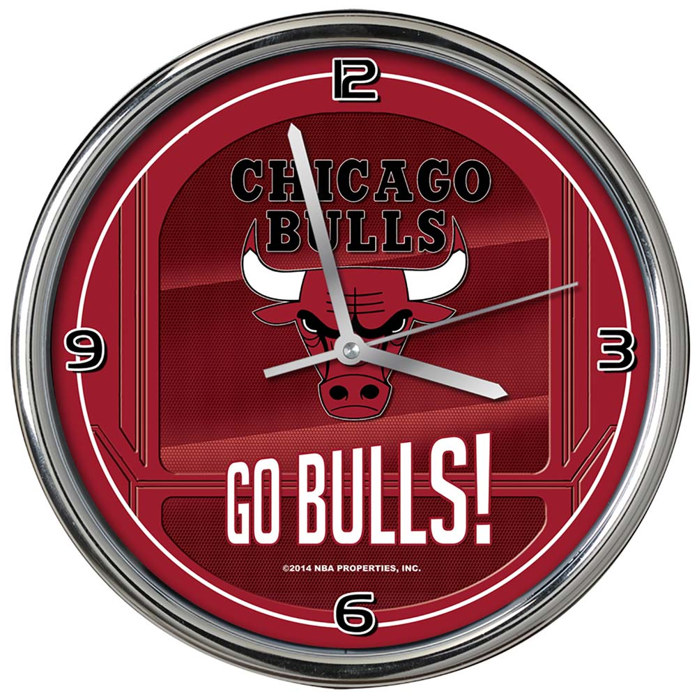 Chicago Bulls Go Team Chrome Clock