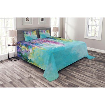 Flower Bedspread Set, Abstract Ivy Romantic and Inspiring Landscape Spring Floral Artwork Nature Theme, Decorative Quilted Coverlet Set with Pillow Shams Included, Multicolor, by Ambesonne ()