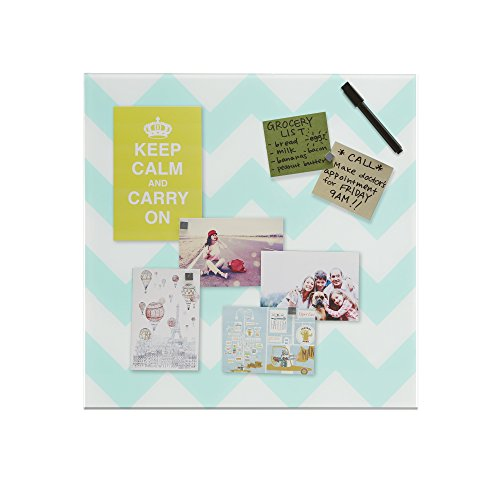 """Quality Home Closeout Blue Magnetic Memo Board Chevron 16"""" x 16"""" (Set of 2 boards)"""