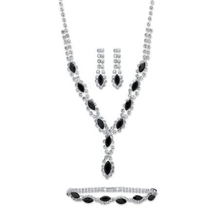 Marquise-Cut Black and White Crystal 3-Piece Halo Earrings, Twisted Strand Necklace and Bracelet Set in Silvertone - Necklaces And Bracelets