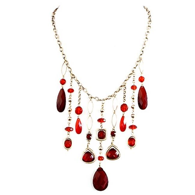 Eshopo 0805470391166 Red Mixed Multi Bead Bib Charm Gold Necklace