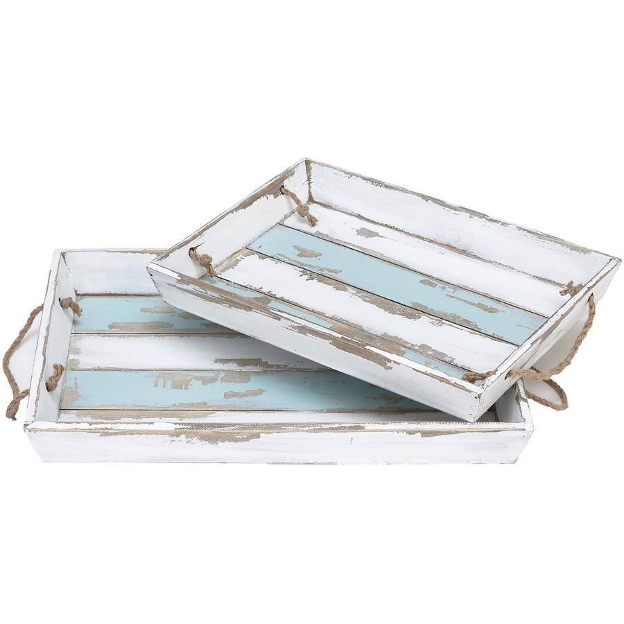 Decmode Wood Tray, Set of 2, Multi Color