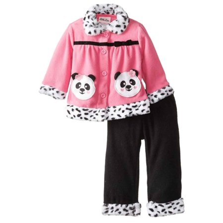 Little Lass Infant Girls 2 PC Pink Panda Bear Fleece Jacket & Pants Outfit