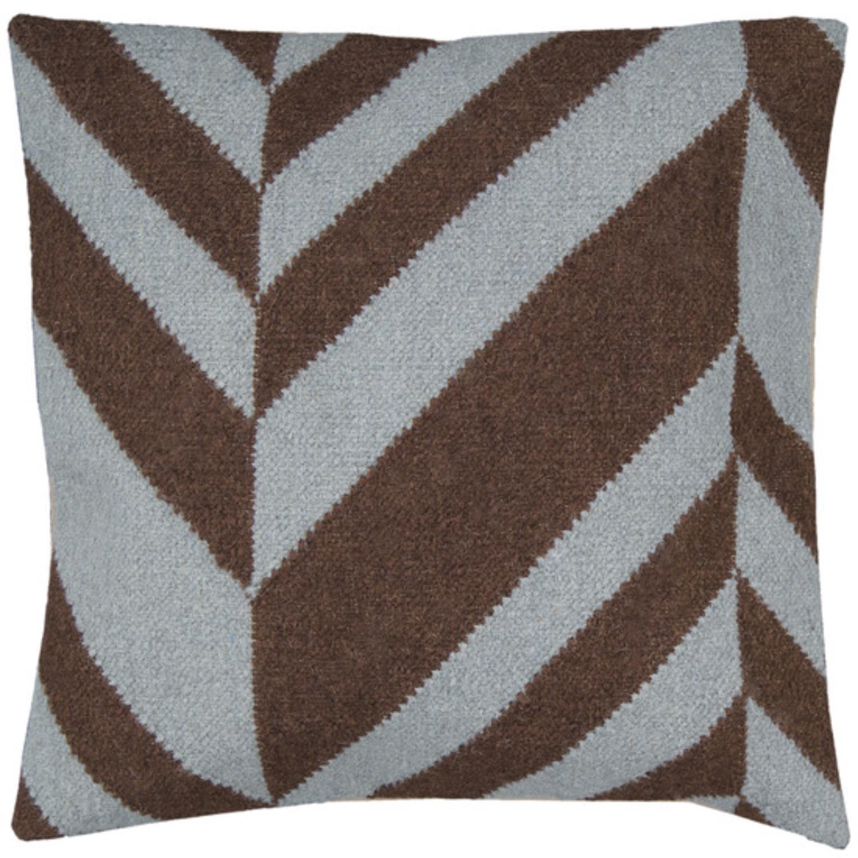 """22"""" Coffee Bean Brown and Foggy Blue Chevron Decorative Throw Pillow"""