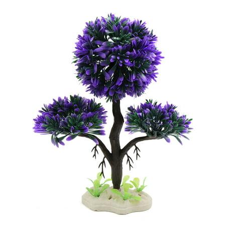 Purple Plastic Pine Tree Aquarium Decor Underwater Plant Ornament w Ceramic Base