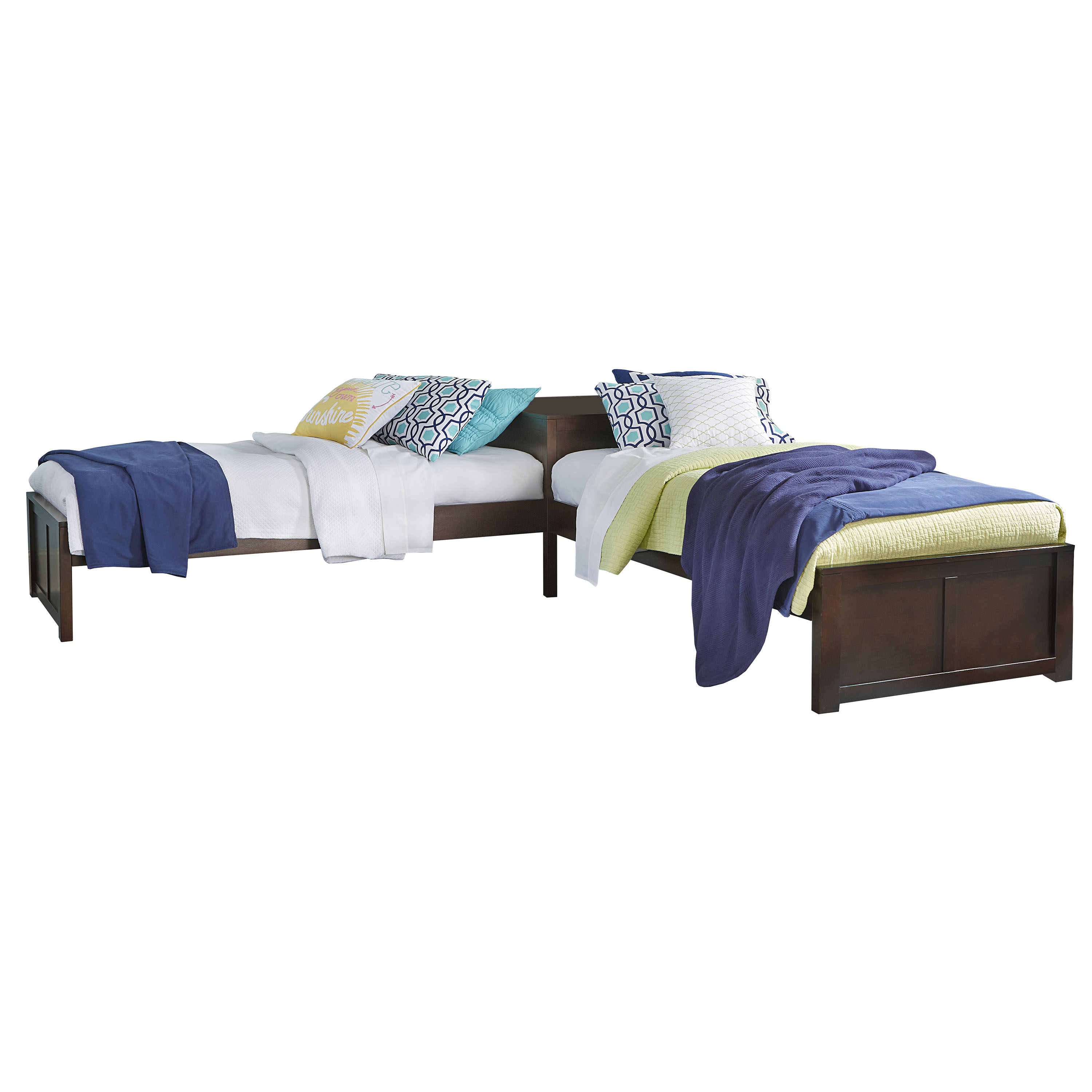 Picture of: Hillsdale Pulse L Shaped Two Twin Beds Chocolate Finish Walmart Com Walmart Com