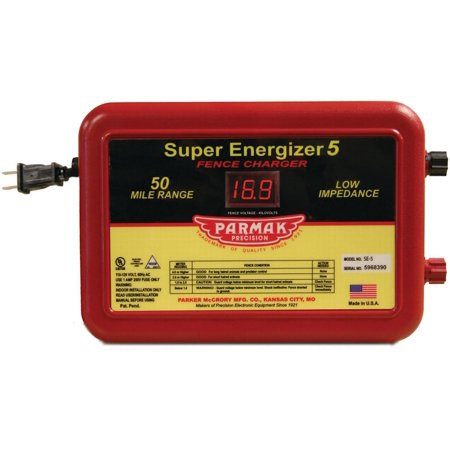 PARMAK SUPER ENERGIZER5 FENCE CHARGER RED 50 MILE