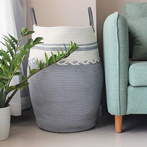 Laundry Hamper Baby Toy Basket XXXL Extra Large Living Room Blanket Basket Bin 2pc 21x21x13.6 Cotton Woven Storage Organizer COMFY-HOMI Cotton Rope Basket Perfect Housewarming Gift