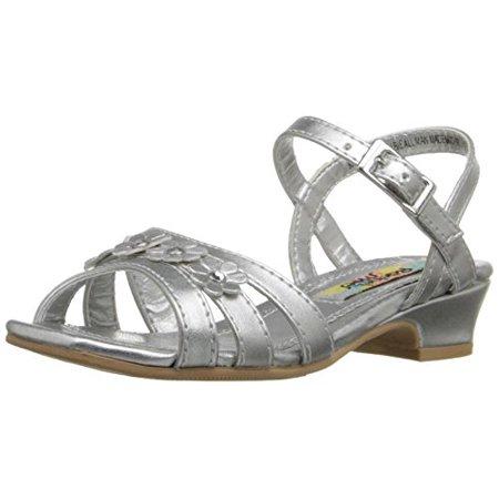 Rachel Shoes Girls' Lil Colbie-K Wedge, Silver Metallic, 6 M US Toddler - Silver Girls Shoes