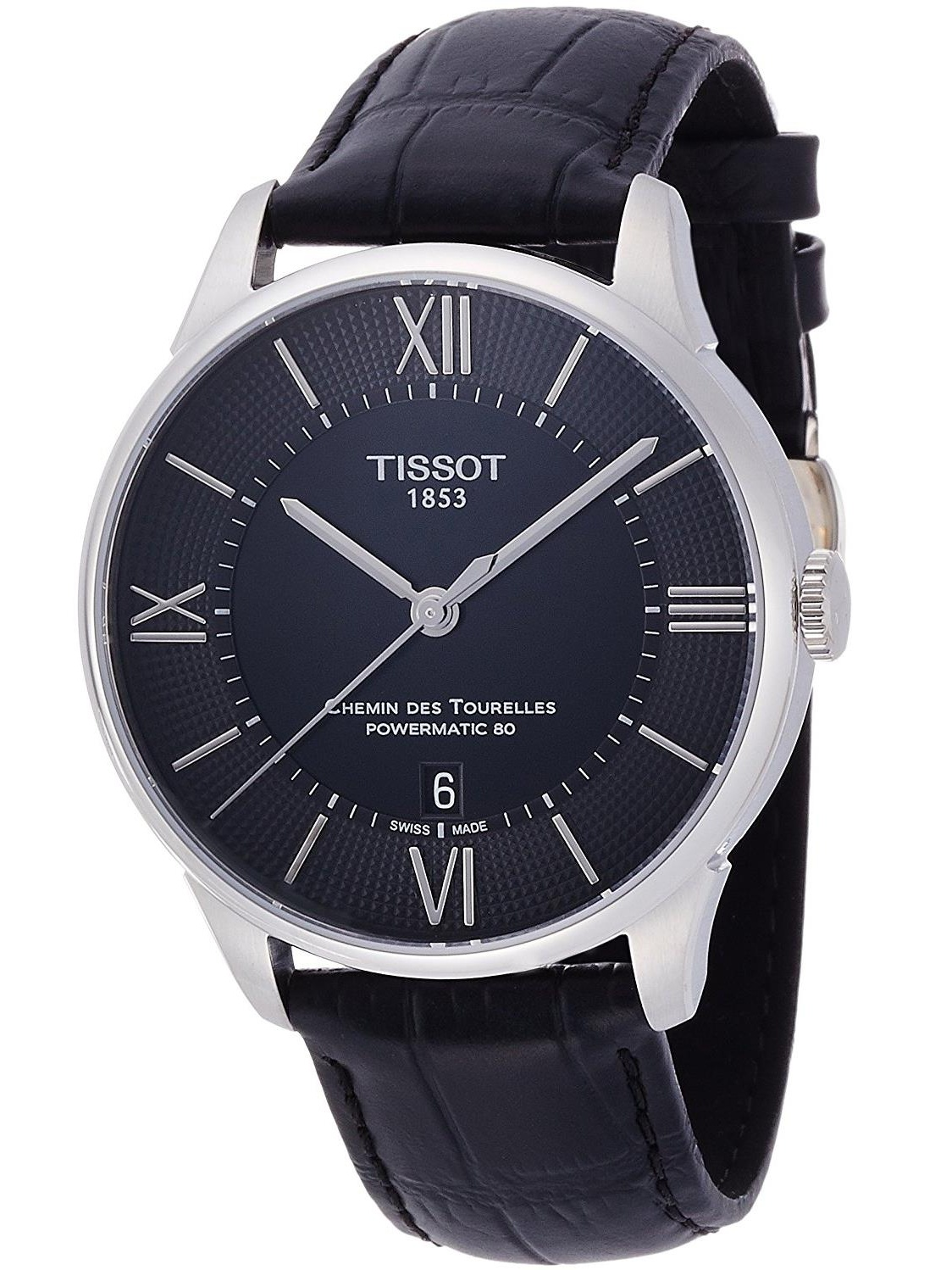 Tissot Men's 42mm Black Alligator Leather Band Steel Case S. Sapphire Automatic Watch T0994071605800 by Tissot