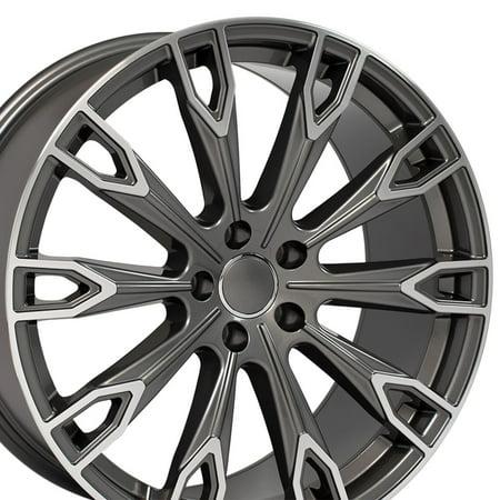 Gunmetal Machine (20x9 Wheel Fits Audi A, Q Series - Q7 Style Gunmetal with Machined Face)