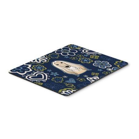 Blue Flowers Afghan Hound Mouse Pad  Hot Pad Or Trivet Bb5095mp