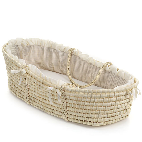 Badger Basket Moses Basket with Liner, Tan Gingham
