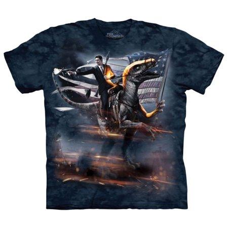 The Mountain Blue Cotton Reagan Velociraptor Design Novelty Adult T-Shirt