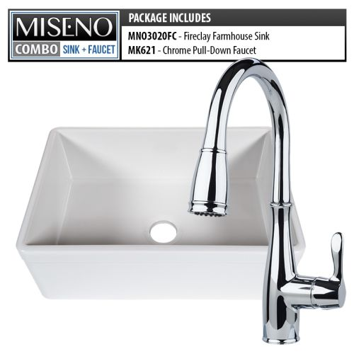 "Miseno MNO3020FC/MK621 Kitchen Combo - Modena 30"" Single Basin Farmhouse Firecla"