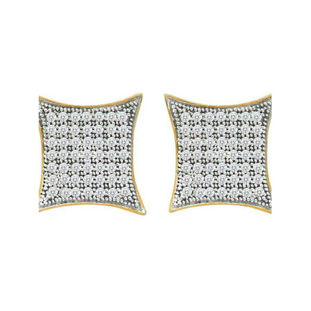 10kt Yellow Gold Womens Round Diamond Square Kite Cluster Screwback Earrings 3/8 Cttw