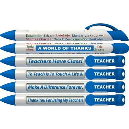 Wide Body Message Pen - Teacher Pen by Greeting Pen- Thank You Rotating Message Pen - 6 Pack (36403)