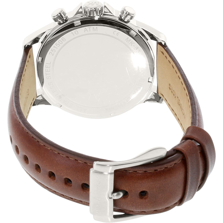 f20d2347a2da Michael Kors - Men s Gage Chronograph Brown Leather Strap Watch MK8362 -  Walmart.com