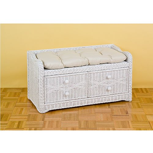 Wicker Storage Bench With Cushion, White