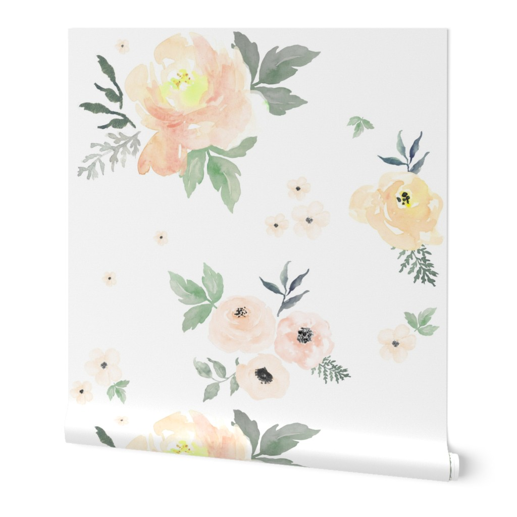 Wallpaper Roll Shabby Chic Roses Floral Watercolor Flowers Blush