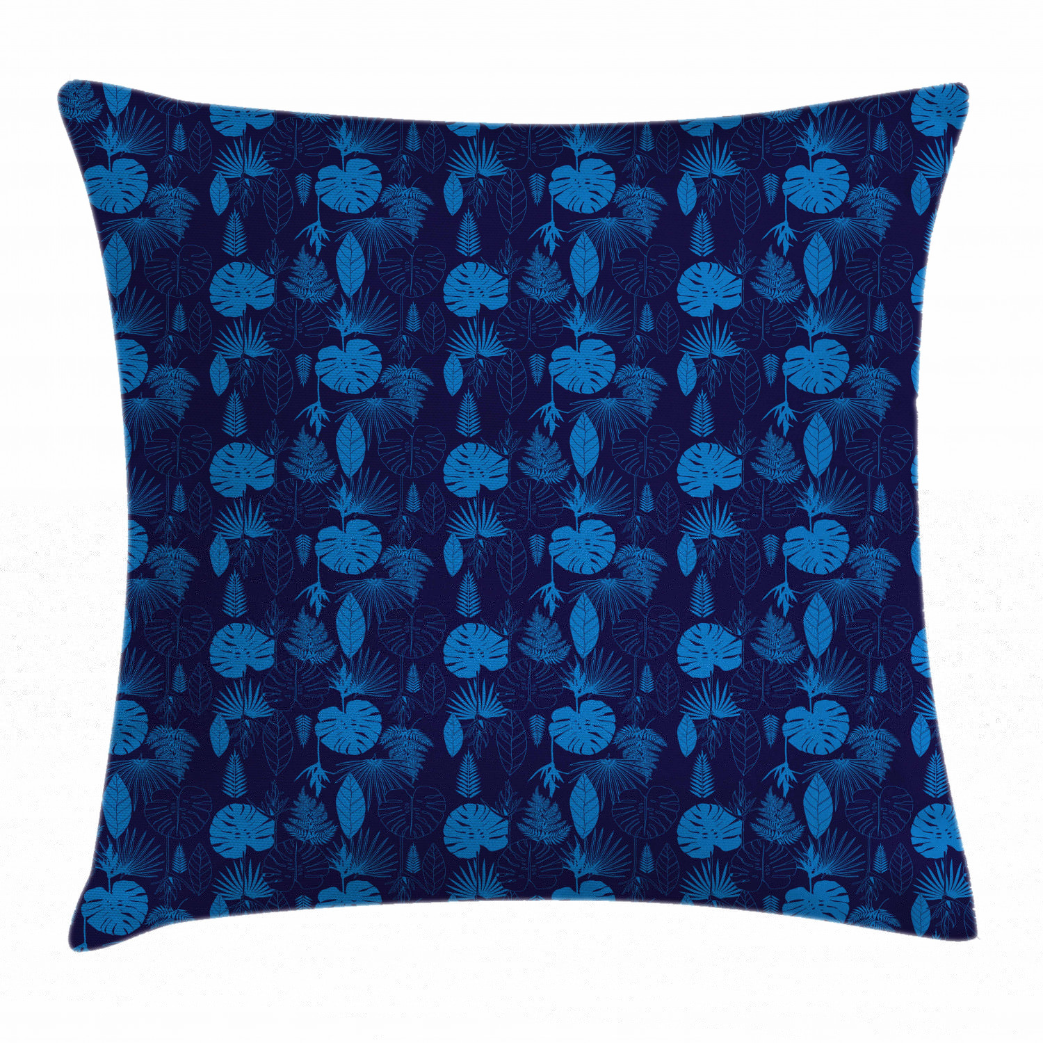 Exotic Throw Pillow Cushion Cover, Artsy Tropical Plants Palm Tree Leaves Jungle Leafage Botanical Hawaii Theme, Decorative Square Accent Pillow Case, 24 X 24 Inches, Cobalt Blue Indigo, by Ambesonne ()