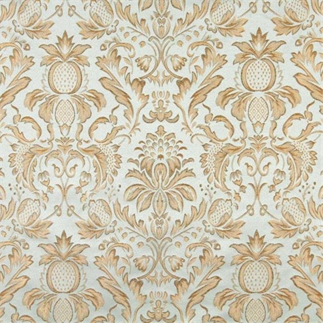 Designer Fabrics F554 54 inch Wide Light Blue, Ivory, Green And Gold, Floral Pineapple Damask Upholstery And Drapery