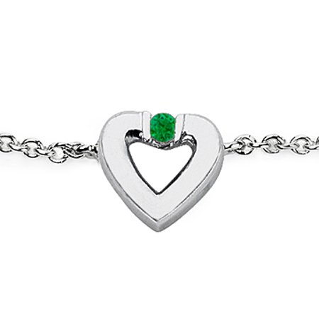 Polished Heart Necklace in 14K White Gold with Green Emerald 0.10 Carat - image 1 de 6