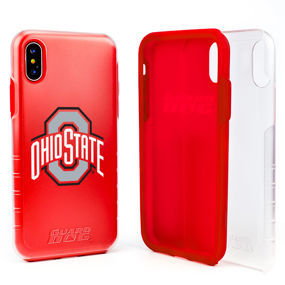Ohio State Buckeyes Clear Hybrid Case for iPhone X / Xs with Guard Glass Screen Protector - Clear with Red