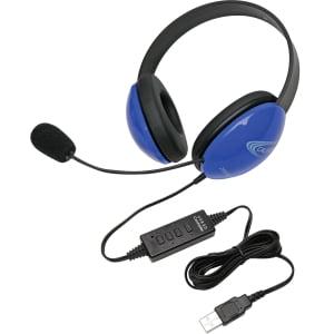 Califone Blue Stereo Headphone w/ Mic, USB Connector