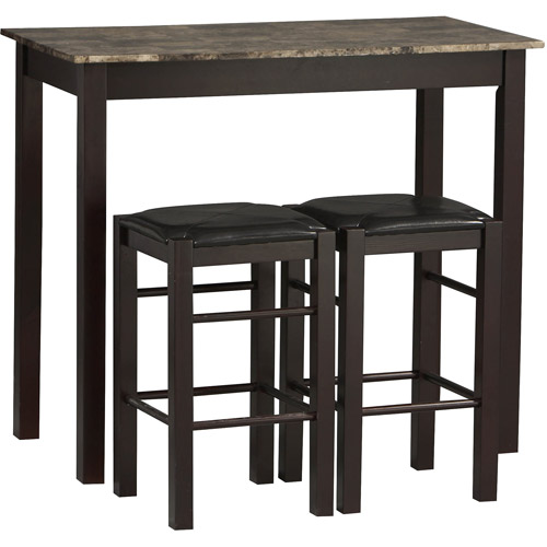 Linon Tavern 3-Piece Set including Table and 2 Counter Stools, Espresso