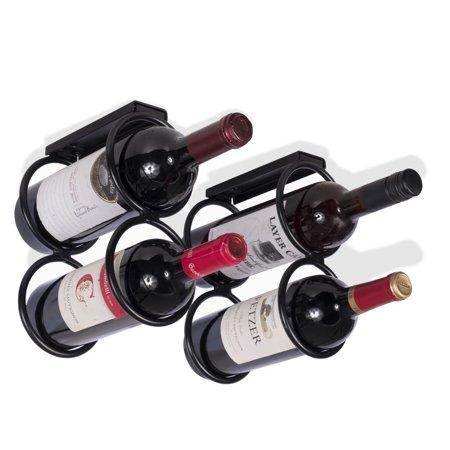 Wallniture Under Cabinet Durable Iron Vertical Wine Storage Rack for 4 Liquor Bottles Black](Liquor Store Tulsa)