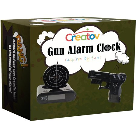 Target Black Alarm Clock With Gun, Infrared target and Realistic Sound Effects infrared 0.8 mw -Black- By (Trademark Games Gun & Target Recordable Alarm Clock)