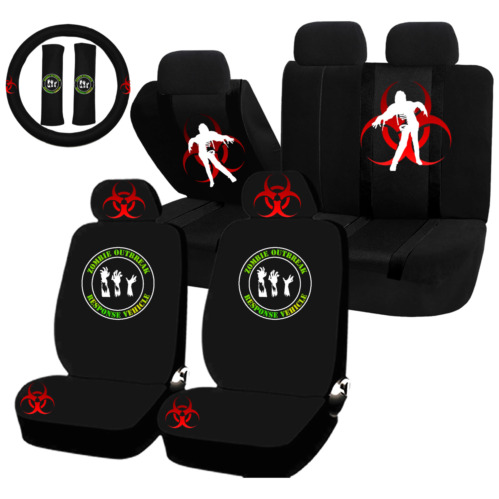 22PC Zombie Outbreak Response Seat Covers & Steering Wheel Set Universal Car Truck SUV