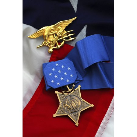 - Close-up of the Medal of Honor awarded to Navy SEALs the highest military decoration awarded by the US government Poster Print