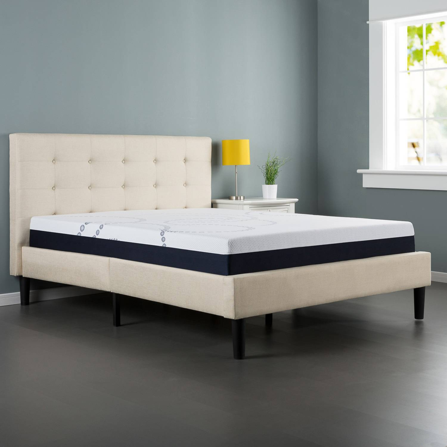 Zinus Upholstered On Tufted Platform Bed With Headboard And Wooden Slats Com