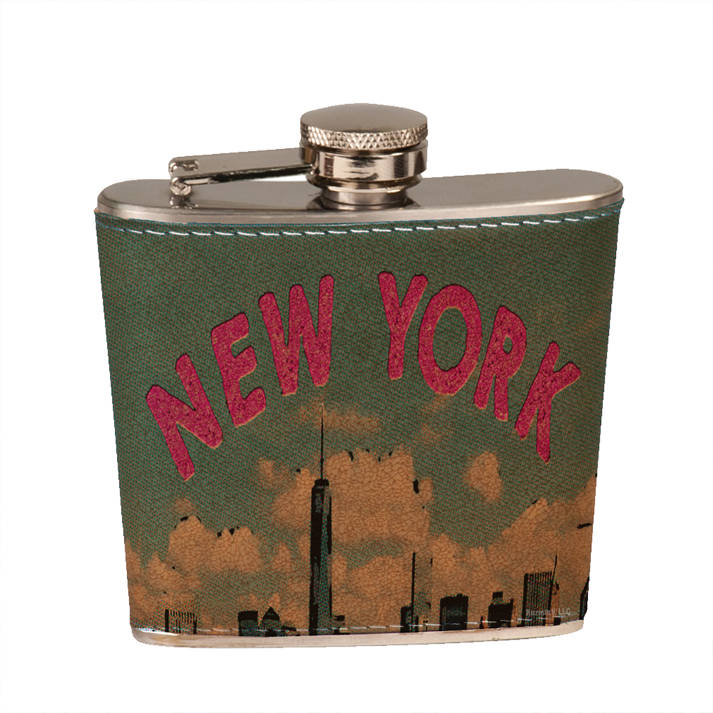 KuzmarK 6 oz. Leather Pocket Hip Liquor Flask - New York Manhattan