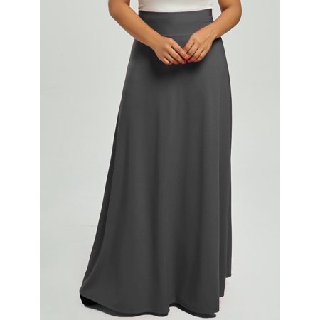 Casual Plus Size High Waist Maxi Flare Skirts ()