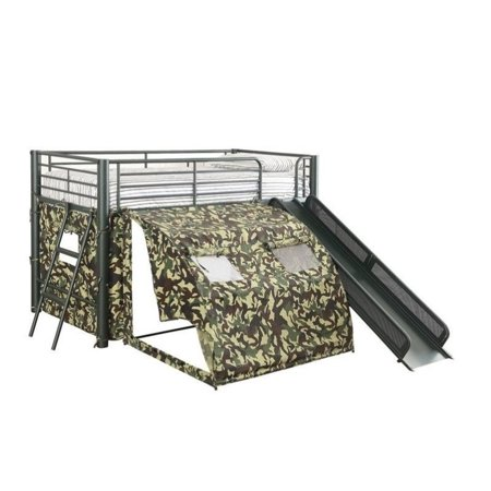 . Coaster Camouflage Army Loft Bed with Slide and Tent